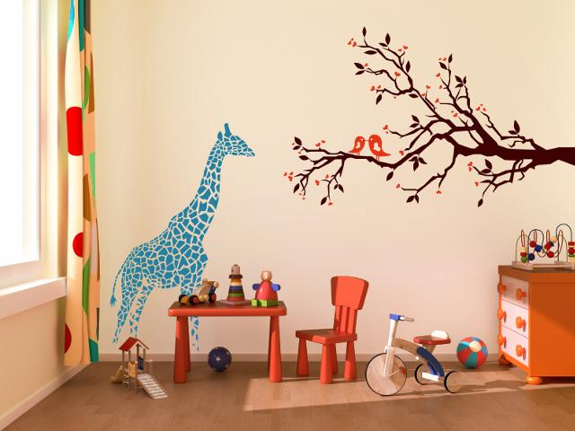 Kinderzimmer wandgestaltung giraffe  Download Wohnideen Kinderzimmer Wandgestaltung | villaweb.info